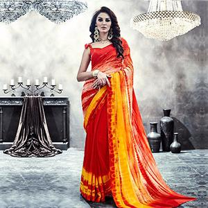 Orange - Red Georgette Printed Saree