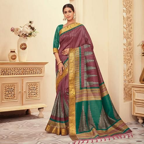 Refreshing Mauve Colored Casual Wear Printed Art Silk Saree