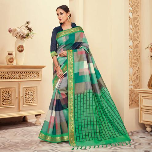 Elegant Green - Multi Colored Casual Wear Printed Art Silk Saree