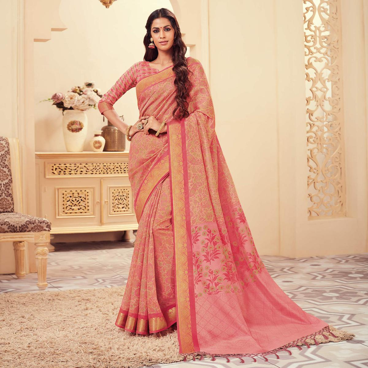 Alluring Pink Colored Casual Wear Printed Art Silk Saree