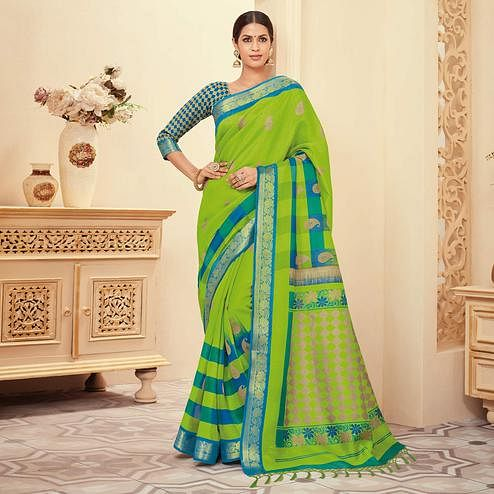 Radiant Green Colored Casual Wear Printed Art Silk Saree