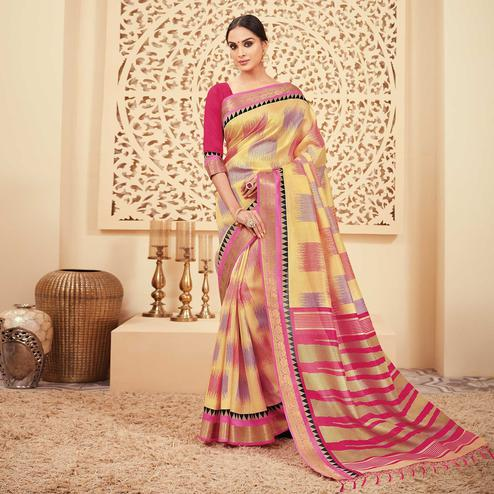 Sensational Yellow & Pink Colored Casual Wear Printed Art Silk Saree