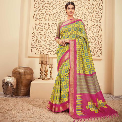 Opulent Pear Green Colored Casual Wear Printed Art Silk Saree