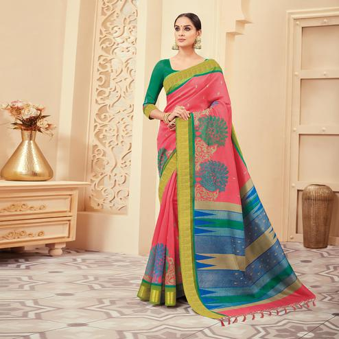 Dazzling Pink Colored Casual Wear Printed Art Silk Saree
