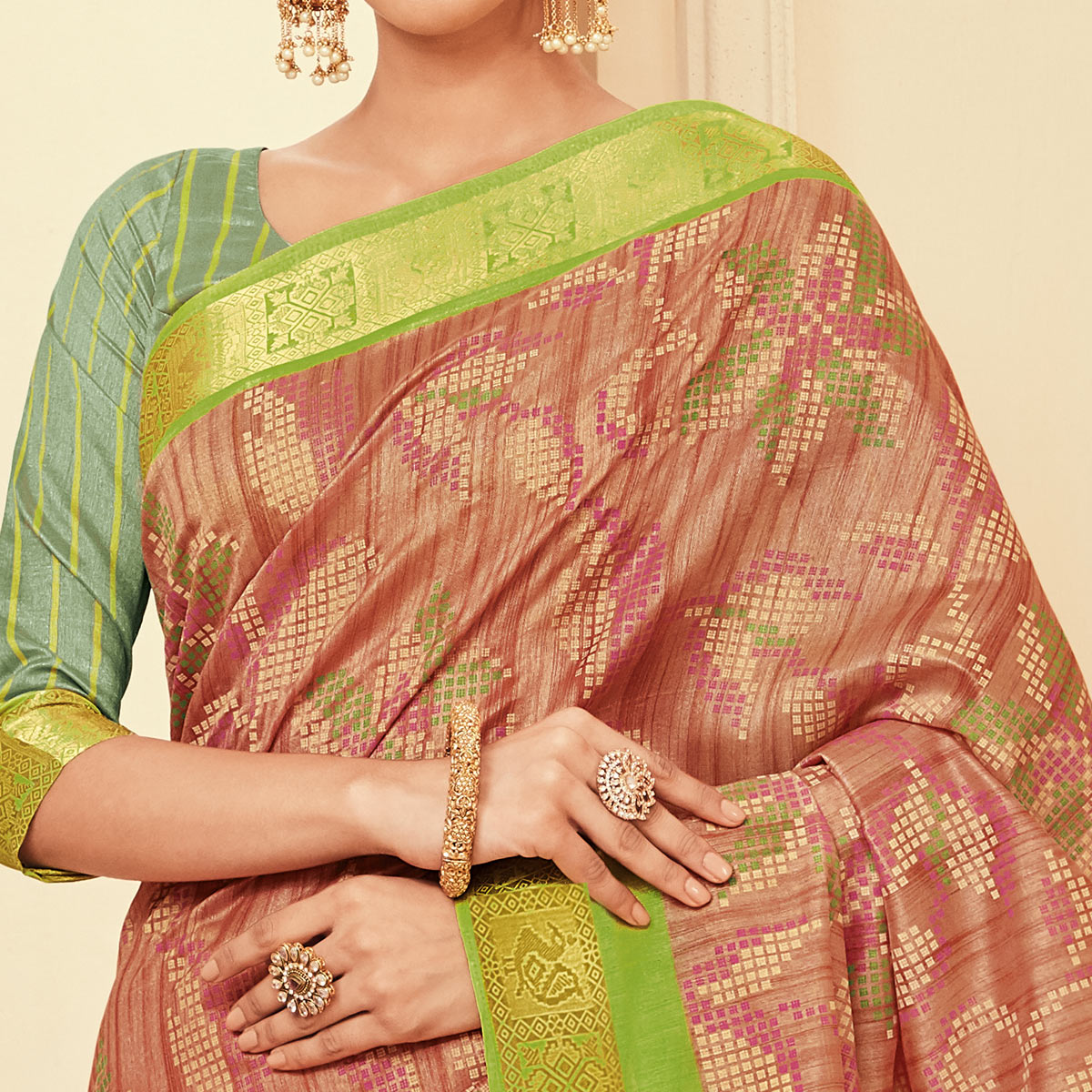Flattering Light Brown Colored Casual Wear Printed Art Silk Saree