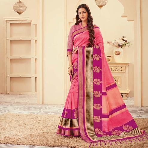 Breathtaking Pink Colored Casual Wear Printed Art Silk Saree