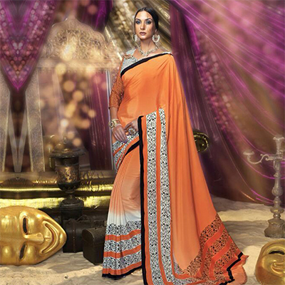Orange Casual Wear Silk Crepe Saree