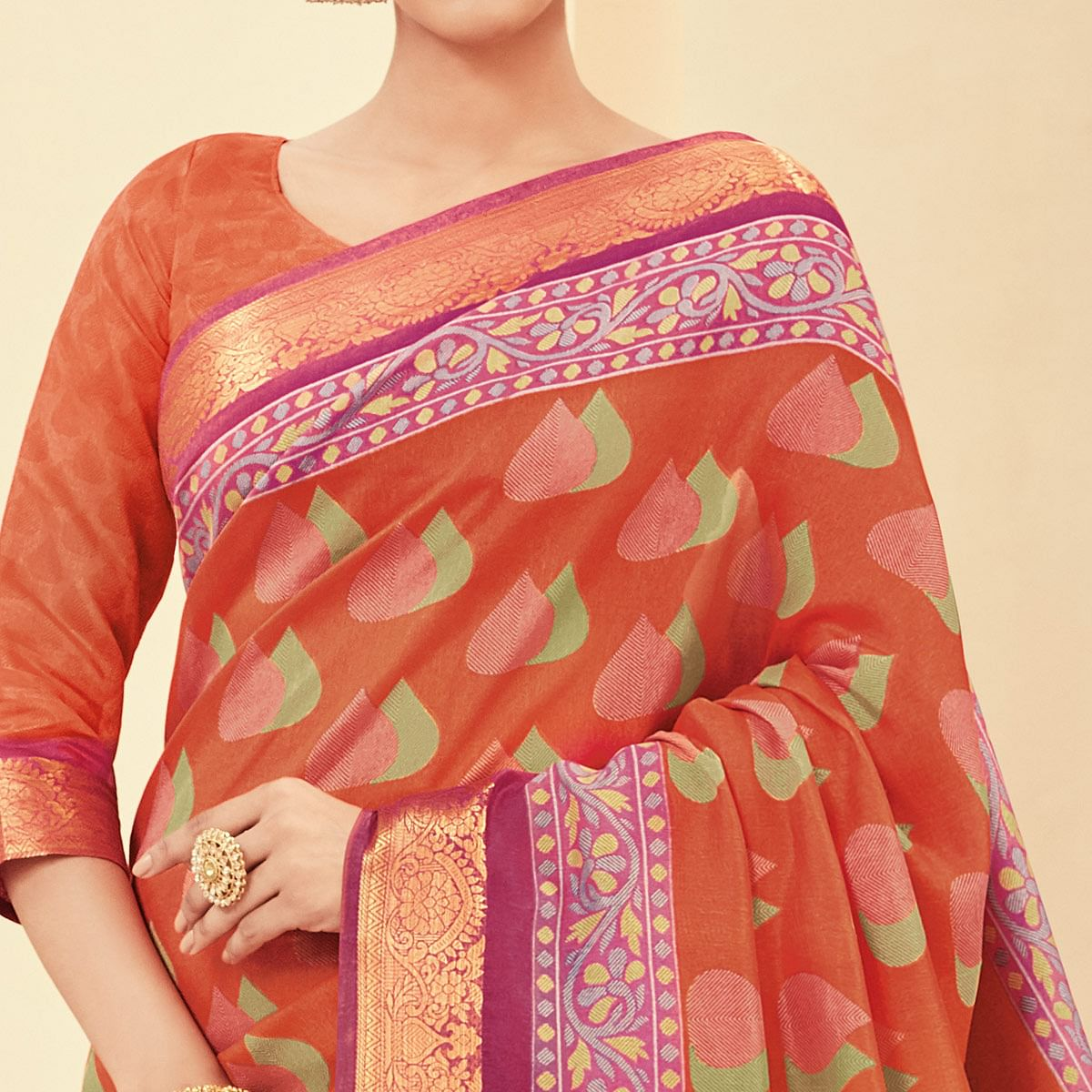 Gleaming Orange Colored Casual Wear Printed Art Silk Saree
