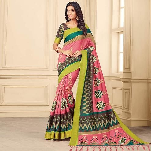 Arresting Pink & Multi Colored Casual Wear Printed Art Silk Saree