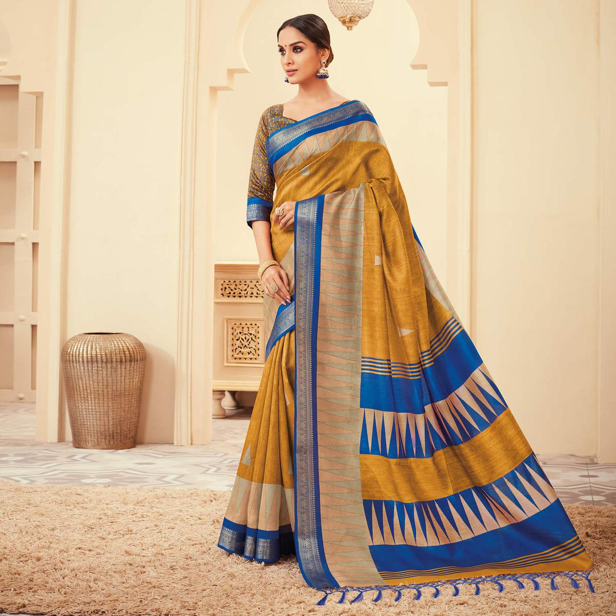 Exceptional Mustard Yellow Colored Casual Wear Printed Art Silk Saree