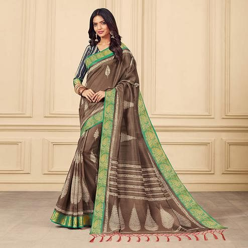 Excellent Sand Brown Colored Casual Wear Printed Art Silk Saree