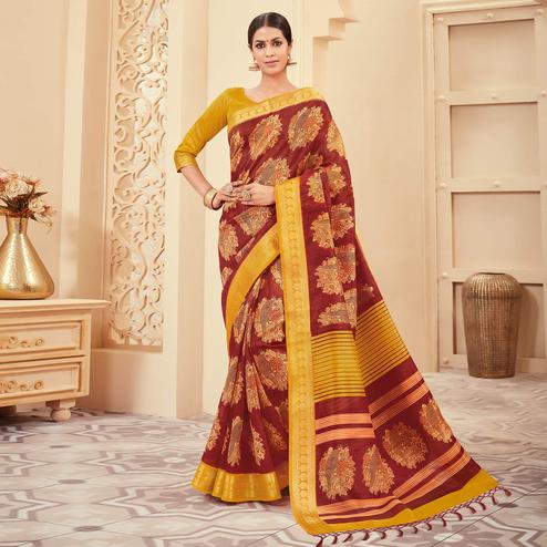 Ethnic Maroon Colored Casual Wear Printed Art Silk Saree