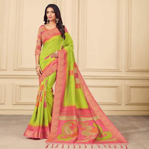 Starring Parrot Green Colored Casual Wear Printed Art Silk Saree