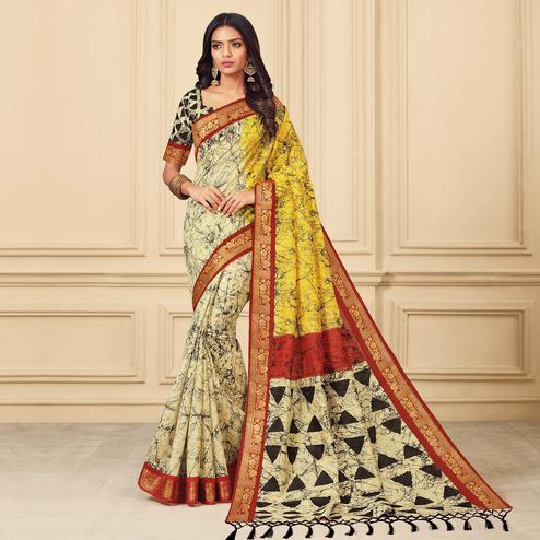 Imposing Cream & Yellow Colored Casual Wear Printed Art Silk Saree
