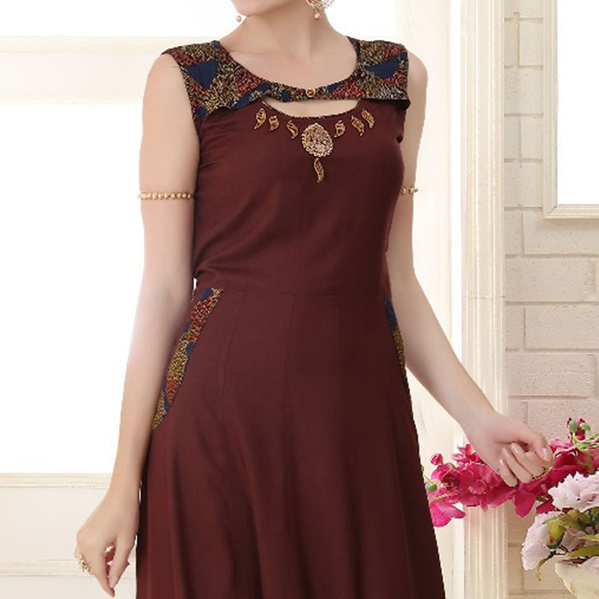 Elegant Brown Colored Partywear Embroidered Rayon Kurti
