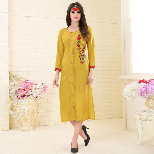 Classy Yellow Colored Partywear Embroidered Rayon Kurti
