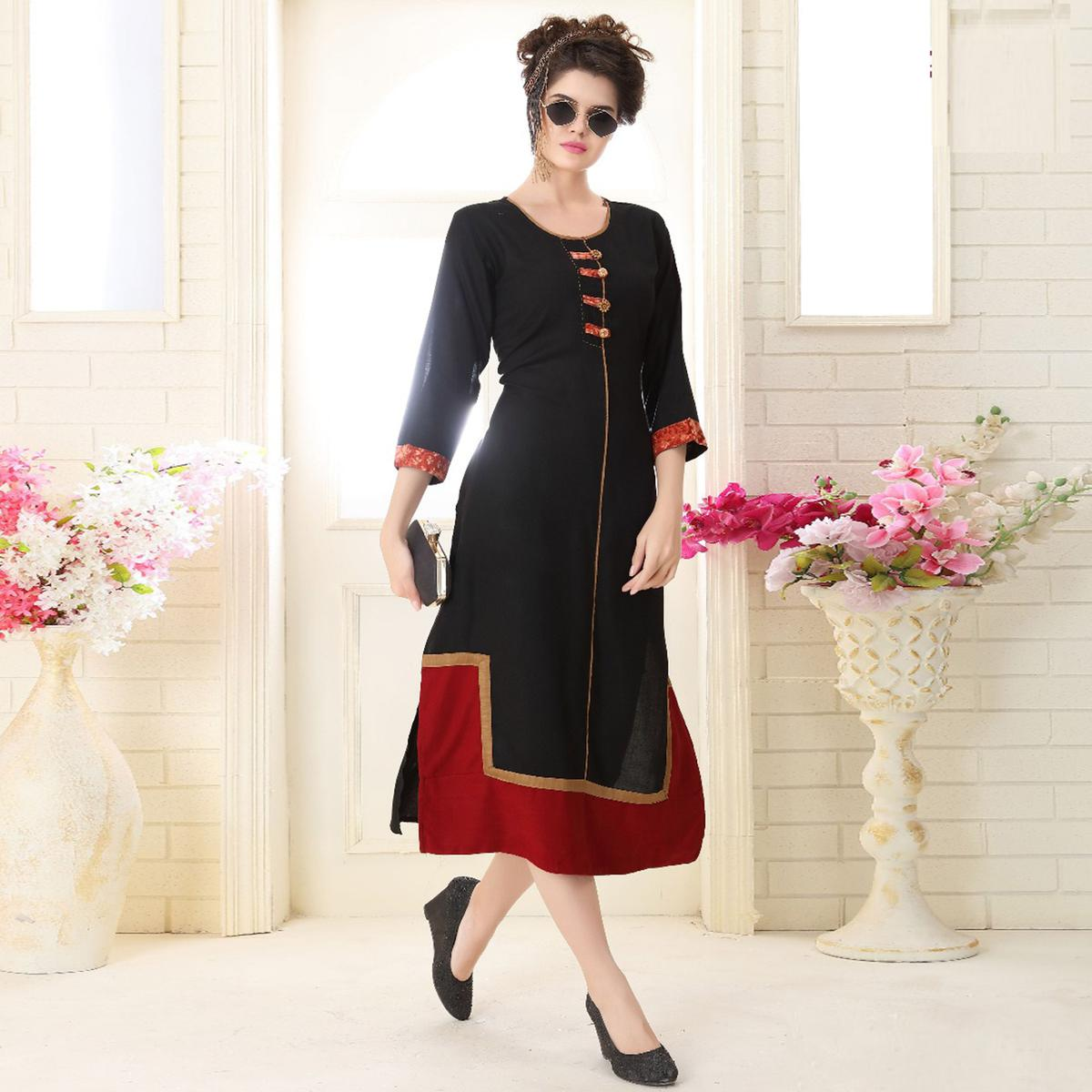 Beautiful Black Colored Partywear Embroidered Rayon Kurti
