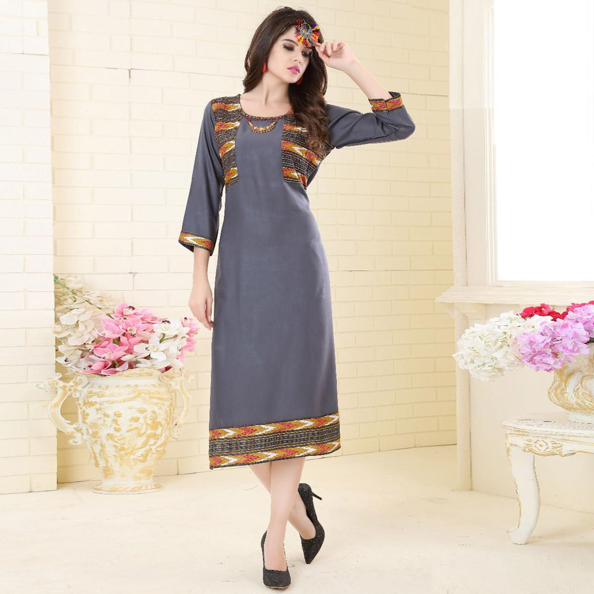 Gleaming Gray Colored Partywear Embroidered Rayon Kurti