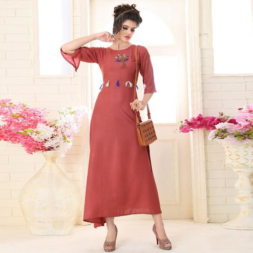 Adorable Dark Peach Colored Partywear Embroidered Rayon Kurti