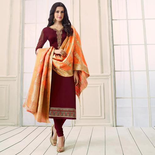 Intricate Maroon Colored Party Wear Embroidered Satin-Georgette Salwar Suit