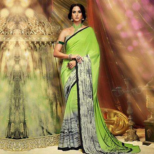 Green Casual Wear Pritned Saree