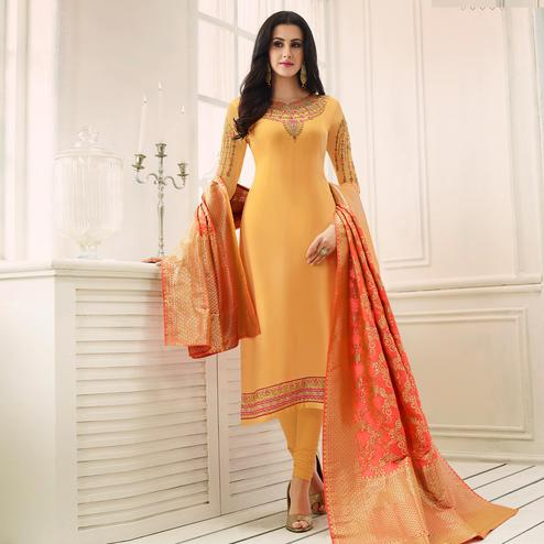 Pleasant Yellow Colored Party Wear Embroidered Satin-Georgette Salwar Suit
