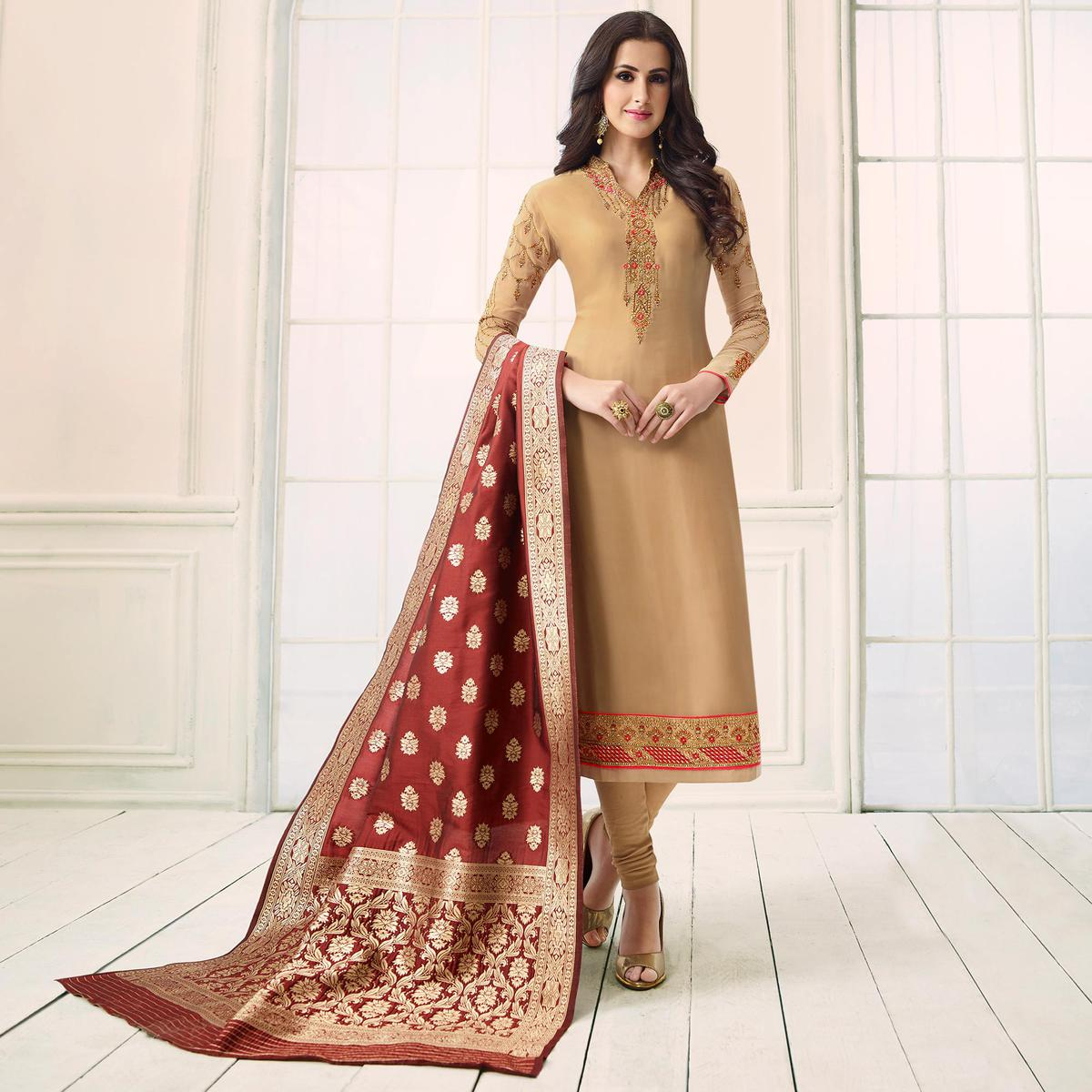Refreshing Beige Colored Party Wear Embroidered Satin-Georgette Salwar Suit
