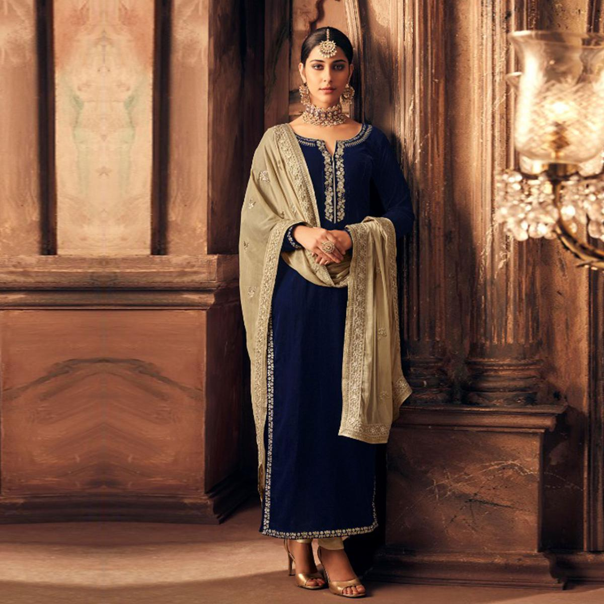 Marvellous Navy Blue Colored Partywear Embroidered Velvet Suit