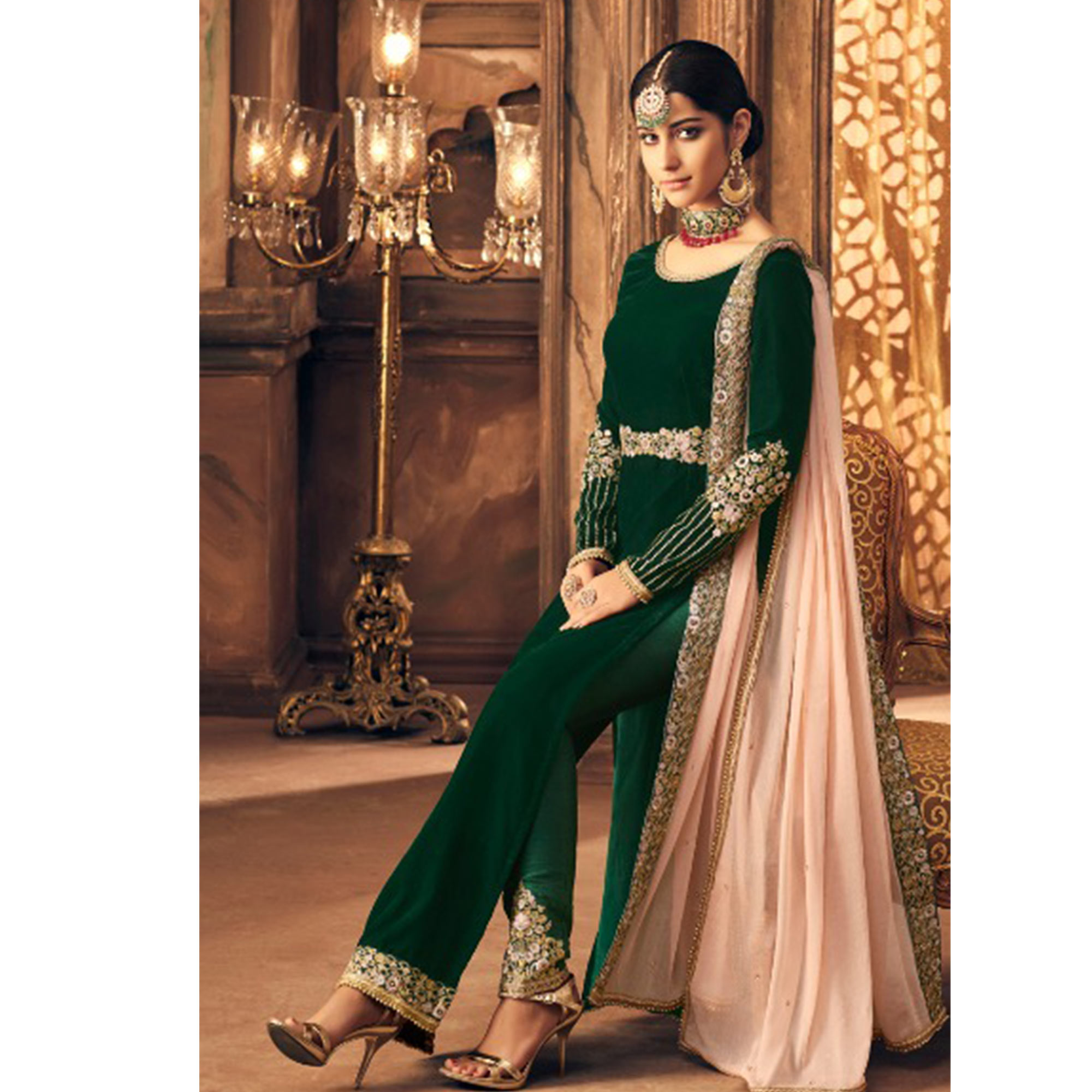 Fantastic Dark Green Colored Partywear Embroidered Velvet Suit