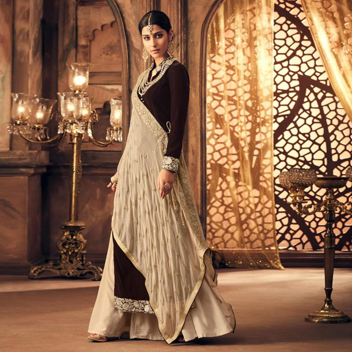 Gorgeous Coffee Brown Colored Partywear Embroidered Velvet Lehenga Kameez Suit