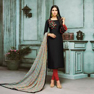 Pretty Black Colored Partywear Embroidered Chanderi Silk Suit
