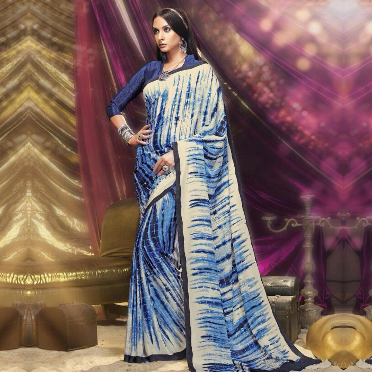 Blue - White Silk Crepe Printed Saree