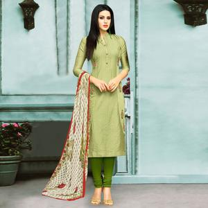 Refreshing Green Colored Partywear Embroidered Chanderi Silk Suit