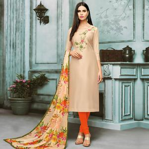 Classy Cream Colored Partywear Embroidered Chanderi Silk Suit