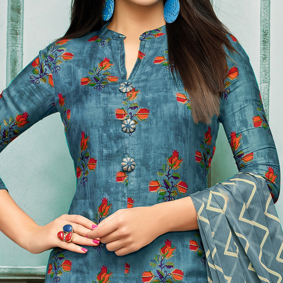 Lovely Blue Colored Partywear Embroidered Chanderi Silk Suit