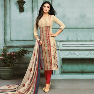 Appealing Beige Colored Partywear Embroidered Chanderi Silk Suit