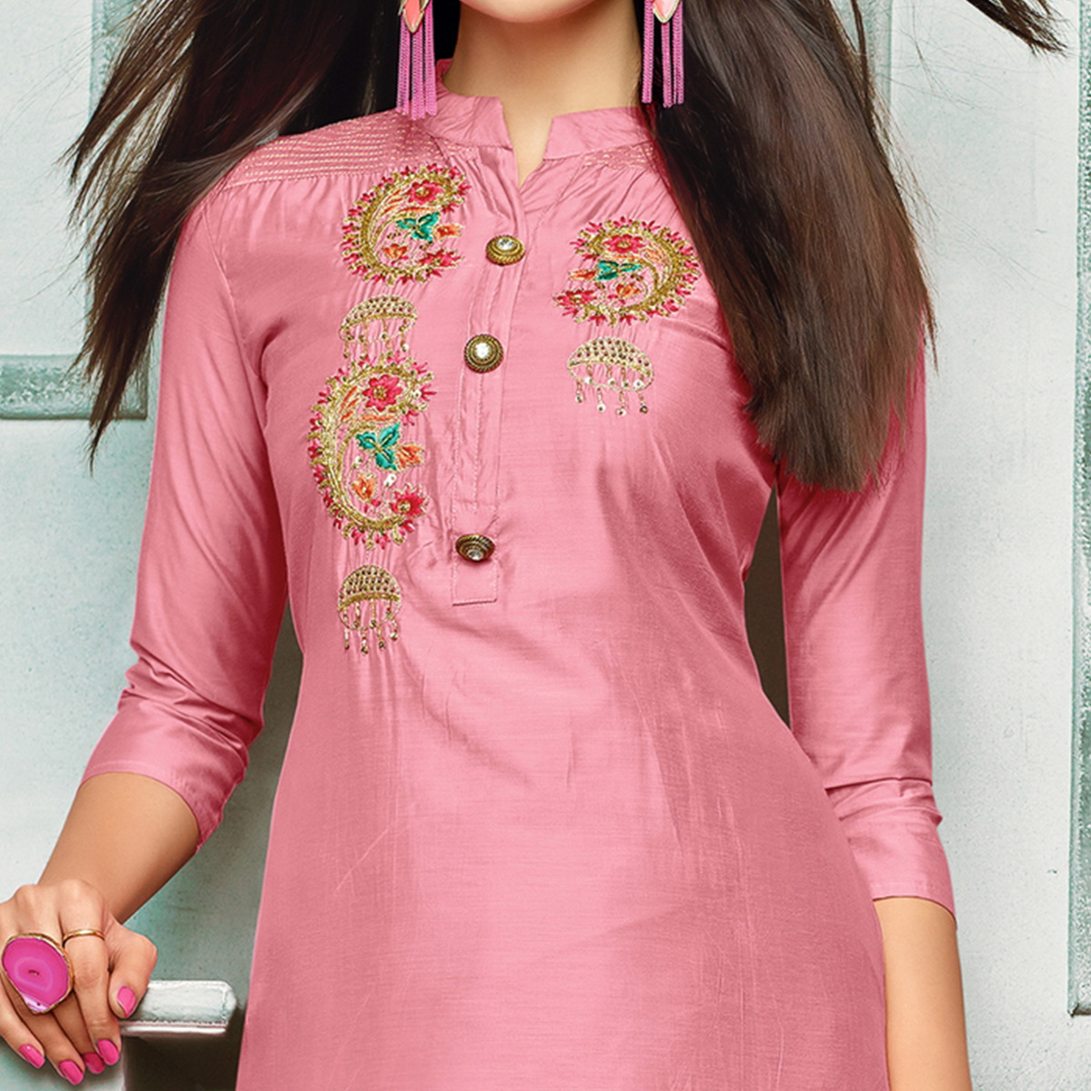 Amazing Pink Colored Partywear Embroidered Chanderi Silk Suit