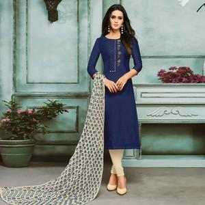 Gorgeous Navy Blue Colored Partywear Embroidered Chanderi Silk Suit