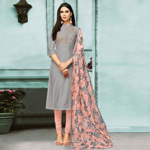 Gleaming Gray Colored Partywear Embroidered Chanderi Silk Suit