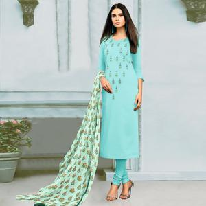 Blooming Sky Blue Colored Partywear Embroidered Chanderi Silk Suit