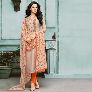 Beautiful Mauve Colored Partywear Embroidered Chanderi Silk Suit