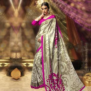White - Pink Digital Print Work Saree