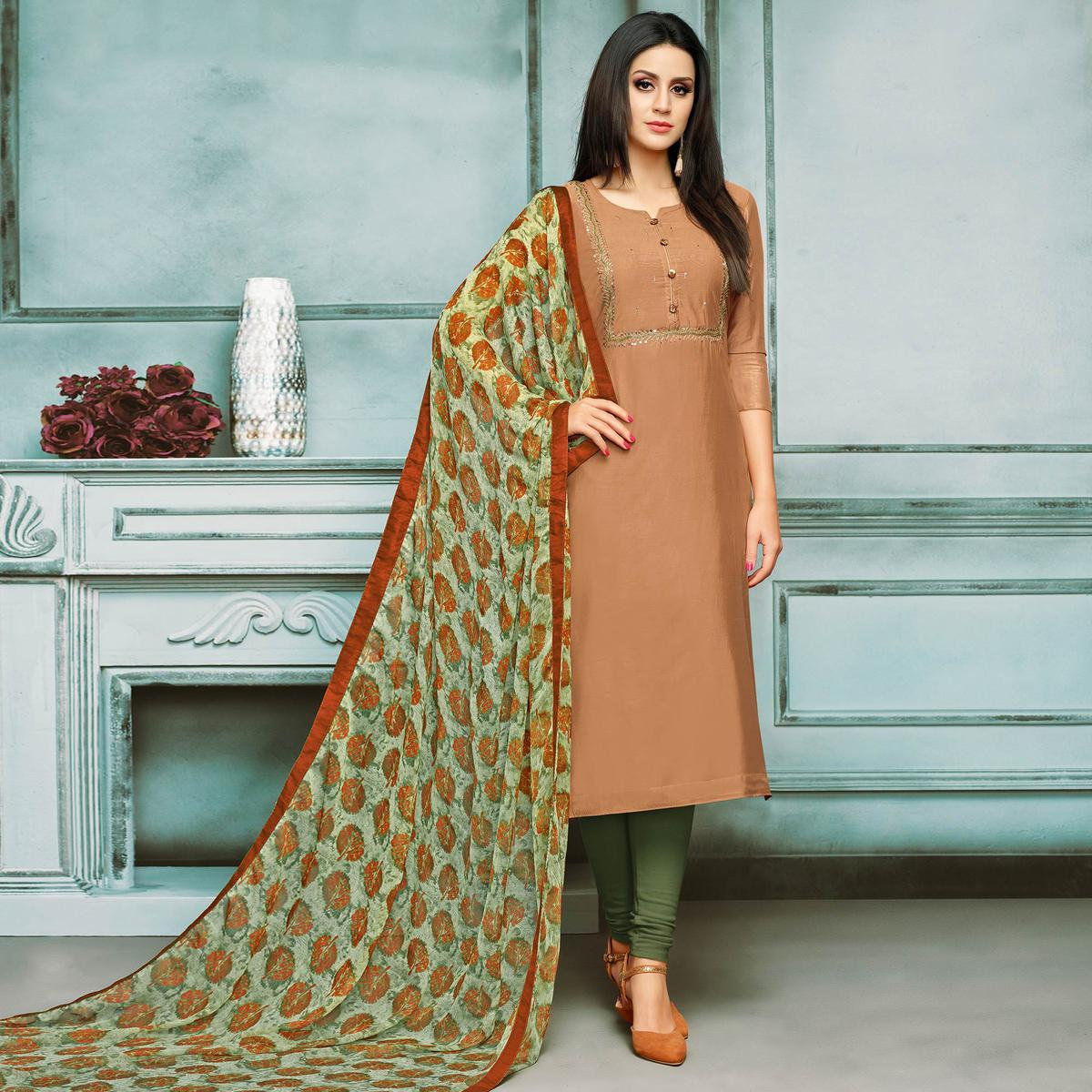 Adorable Brown Colored Partywear Embroidered Chanderi Silk Suit