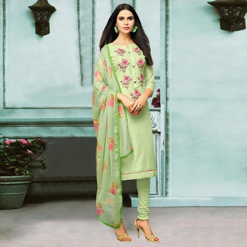 Starring Pista Green Colored Partywear Embroidered Chanderi Silk Suit