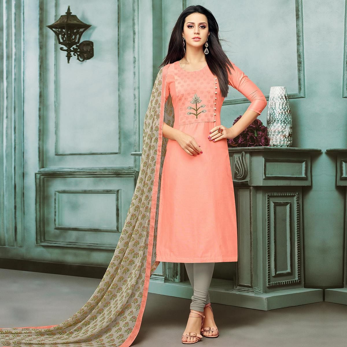 Attractive Peach Colored Partywear Embroidered Chanderi Silk Suit