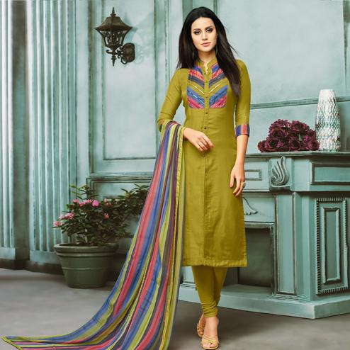 Eye-Catching Green Colored Partywear Embroidered Chanderi Silk Suit