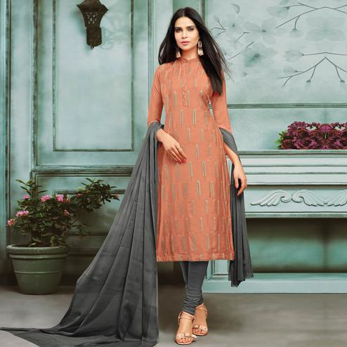 Stunning Peach Colored Partywear Embroidered Chanderi Silk Suit