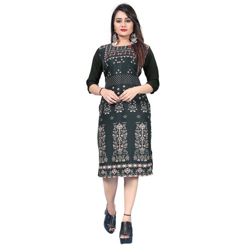 Adorable Black Colored Casual Printed Crepe Kurti