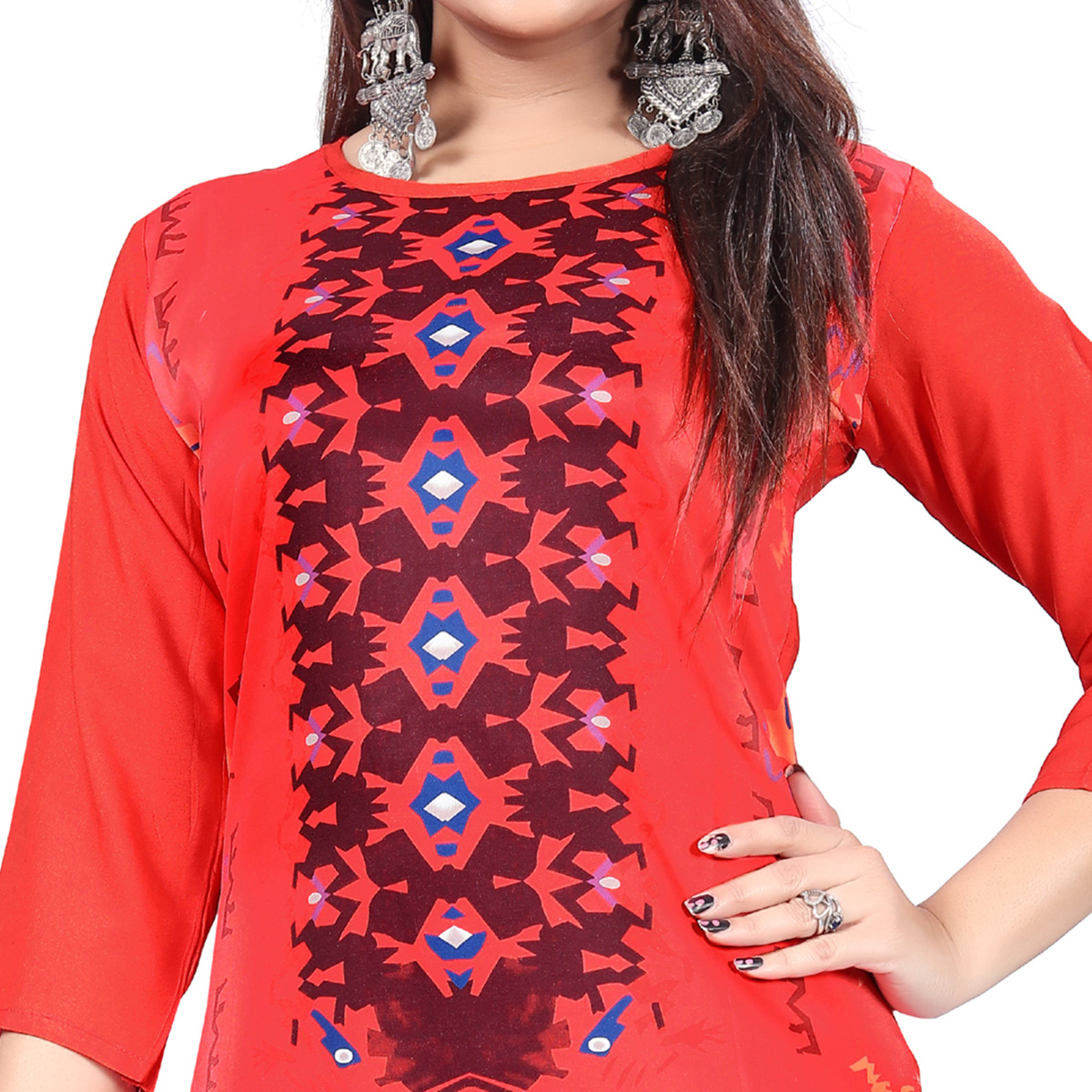 Attractive Red Colored Casual Printed Crepe Kurti