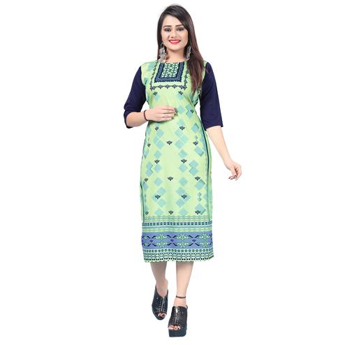 Beautiful Light Green Colored Casual Printed Crepe Kurti